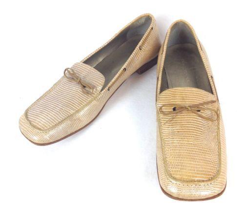 BANANA-REPUBLIC-Shoes-WOMENS-9-5-Leather-SNAKESKIN-Print-ITALY-Slip-On