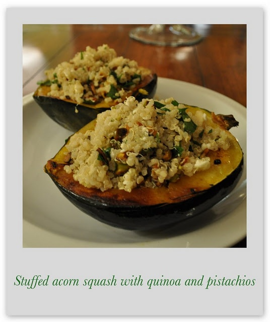 Stuffed Acorn Squash with Quinoa and Pistachios