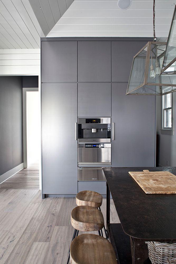 Modern grey rustic wood design kitchen pinterest - Grey wood floors kitchen ...