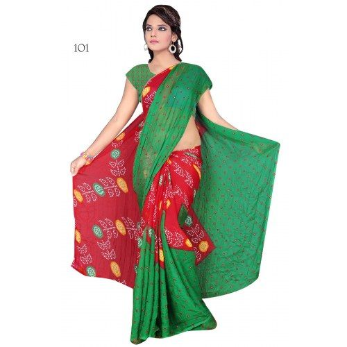 Red & Green Chiffon Printed Saree | Indian Sarees by Craftsvilla for ...: pinterest.com/pin/19773685838003818