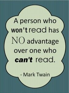 Mark Twain reading quote