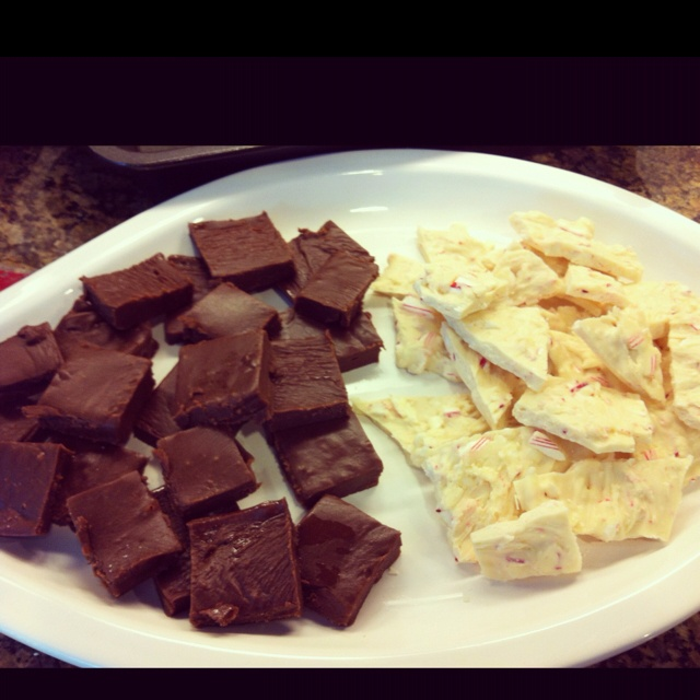 Homemade fudge out of velveeta cheese and peppermint bark...Paula Deen ...