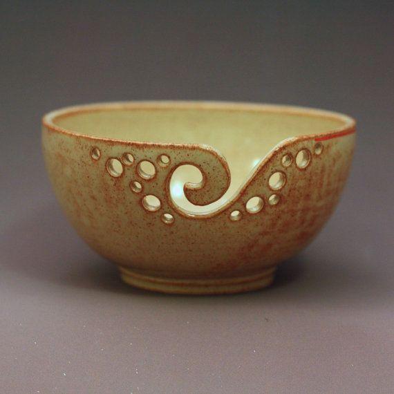 Crochet Yarn Bowl : Yarn Bowl / Knitting Bowl / Crochet Bowl / Shino Yarn Bowl / 6 1/2 ...