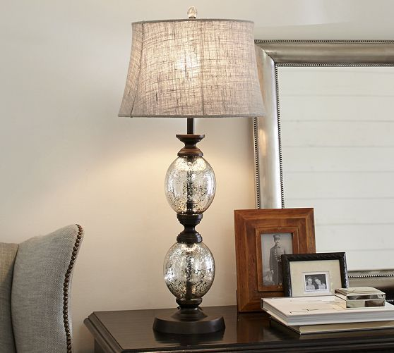 stacked mercury glass table lamp base. Black Bedroom Furniture Sets. Home Design Ideas
