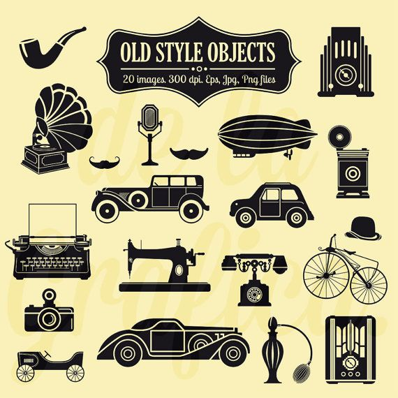 Old style objects clipart clip art vintage objects for Old objects