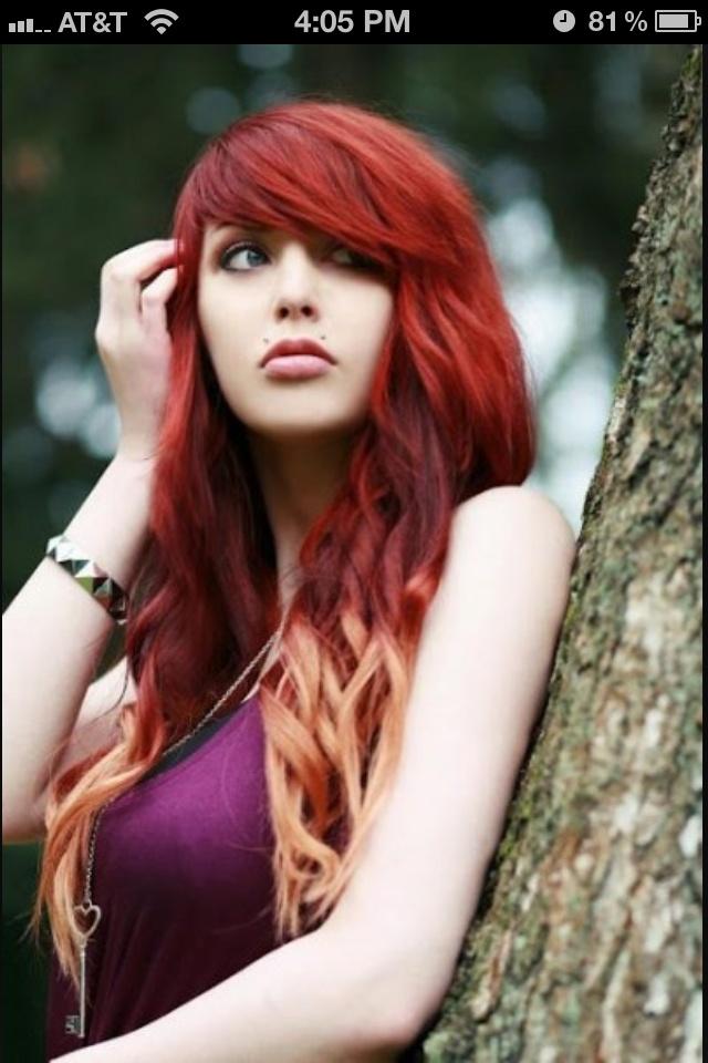 Bright red, blonde tips!   hair :D   Pinterest