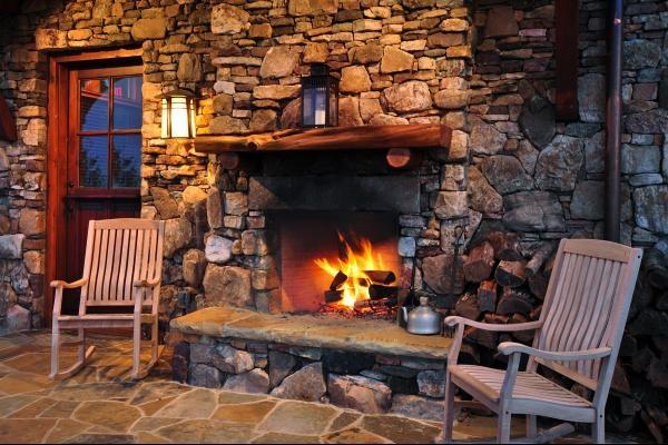 Outdoor Fireplace Log Cabin Pinterest