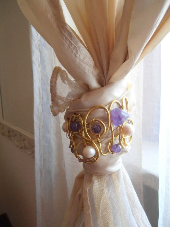 Jewel your curtains with decorative curtain tiebacks by LorellaDia, $ ...