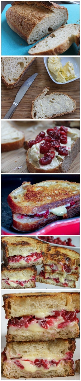Roasted Cranberry & Brie Grilled Cheese | nom nom nom | Pinterest