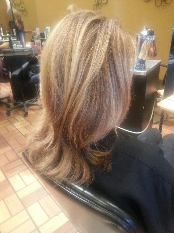 Long layered cut with golden blonde highlights by Angel at Salon ...