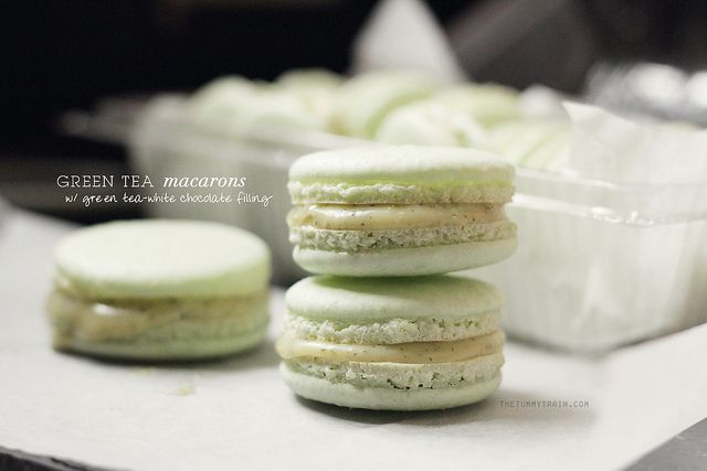 Green tea Macarons filled with Green Tea-infused White Chocolate ...