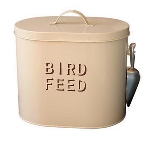 Enamel bird feed container my secret garden pinterest for Bird feed tin
