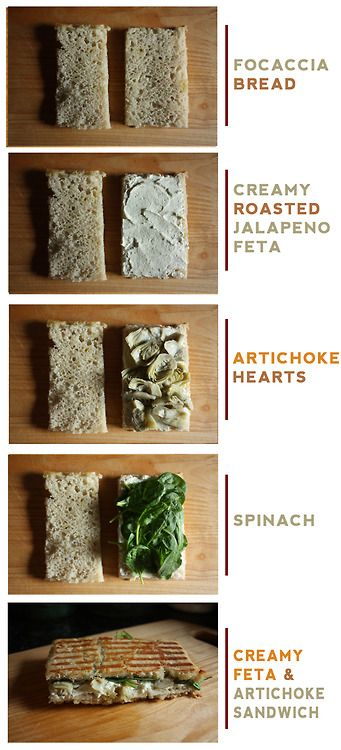 ... batch of focaccia bread : Creamy Feta + Artichoke Sandwich, toasted