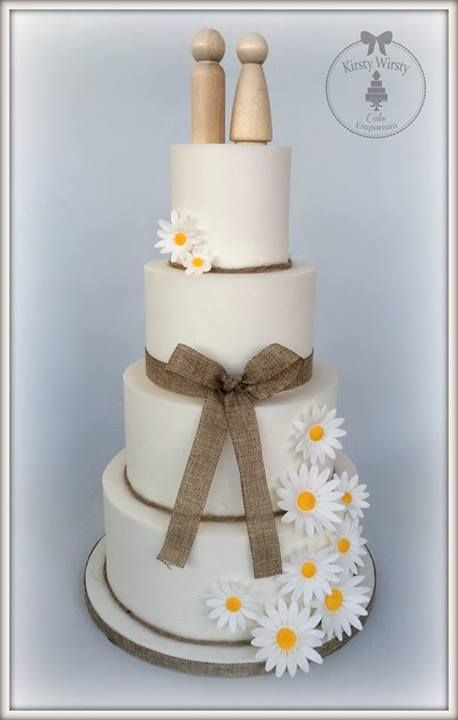 Rustic Wedding Cake Burlap Daisies