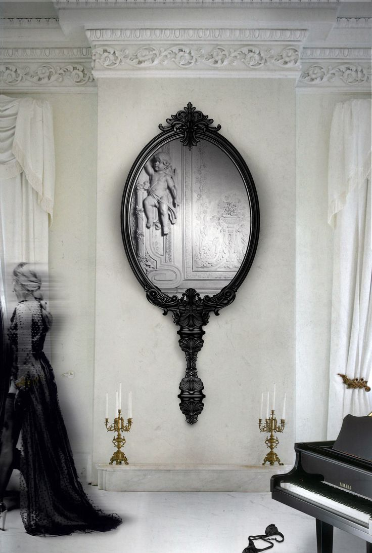 Black accent mirror adds drama