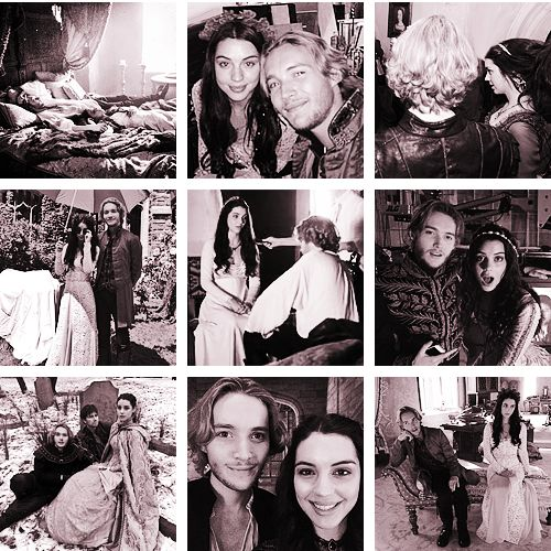 Adelaide kane and toby regbo on the set of reign