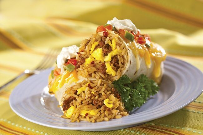Serve these spicy rice, egg and chorizo burritos for breakfast, lunch ...