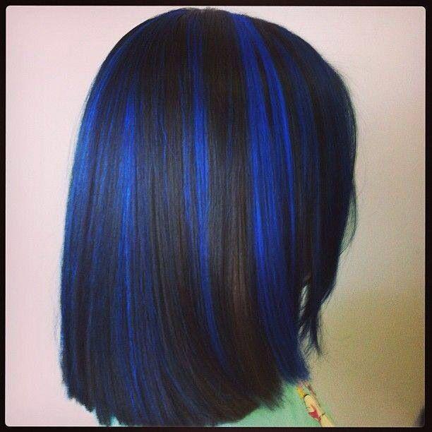 Blue Highlights On Black Hair Color Tips Ideas How