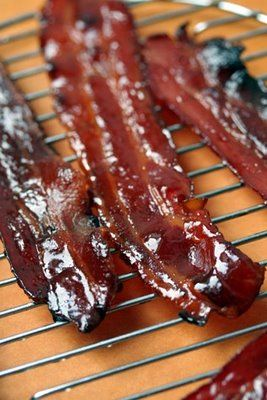Pig Candy...my DH loves to cook it on the grill, no splatter to clean ...