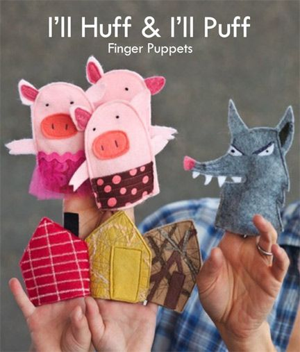 Three little pigs finger puppets for The three little pigs puppet templates