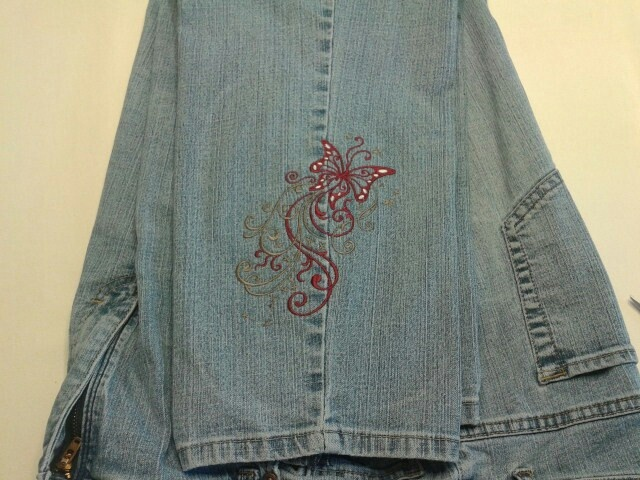 Machine embroidery on denim makaroka