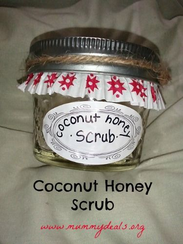 This Coconut Honey Scrub is an awesome #homemadegift.  3 ingredients + a little time becomes a hand, face or body scrub made with natural ingredients. #Holidays #homemade #thenaturalhome