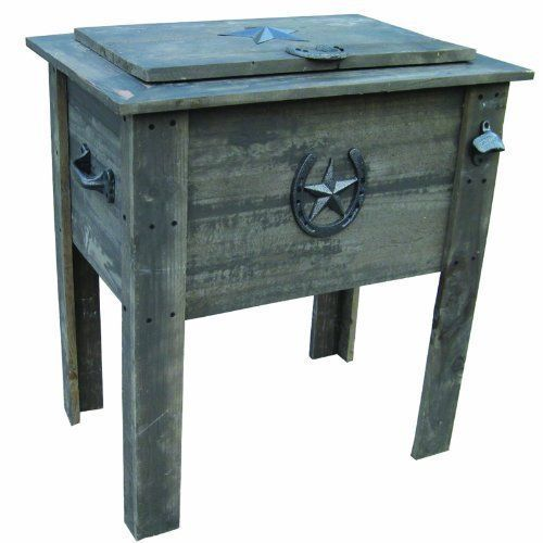 outdoor country rustic wooden texas star horseshoe barn wood cooler p