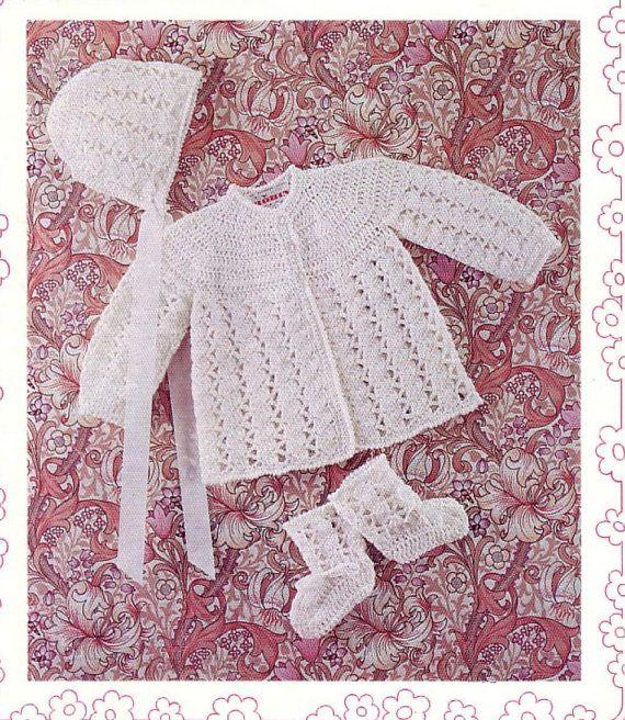 BABY CROCHET PATTERN - Matinee/Sweater/Jacket, Bonnet and ...
