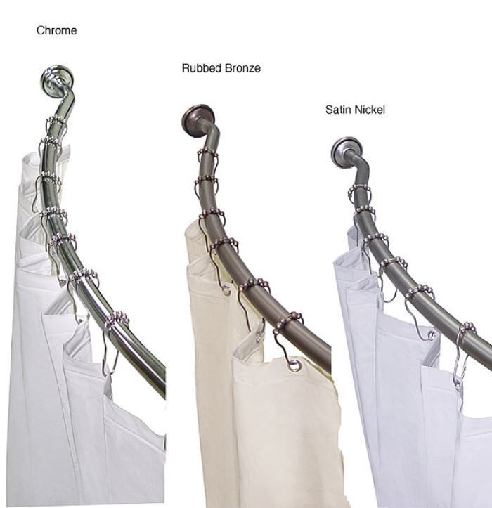 Shower Rod Curved Adjustable Liner Hook SET Chrome Satin Nickel Rubbed ...