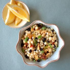 Sweet & spicy couscous with toasted nuts for crunch, sweet currants or ...