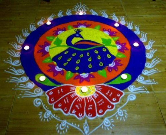 Diwali Rangoli Pinterest: Peacock Rangoli