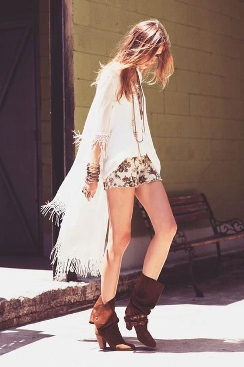 Boho chic style - poncho, shorts and boots MINUS the excessive bracelets