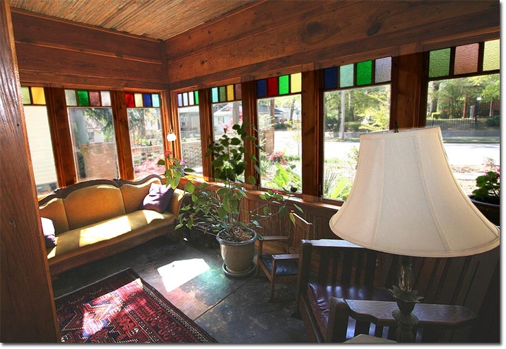 Rustic sunroom with stained glass for the home pinterest
