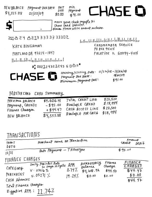 credit card statement design