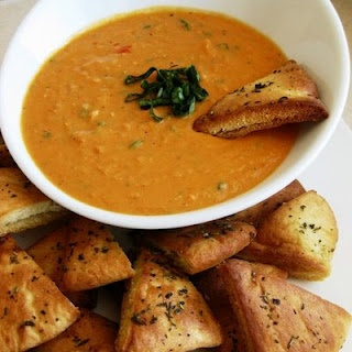 Roasted Red Pepper, Garlic and White Bean Dip with Herb Toasted Pita ...