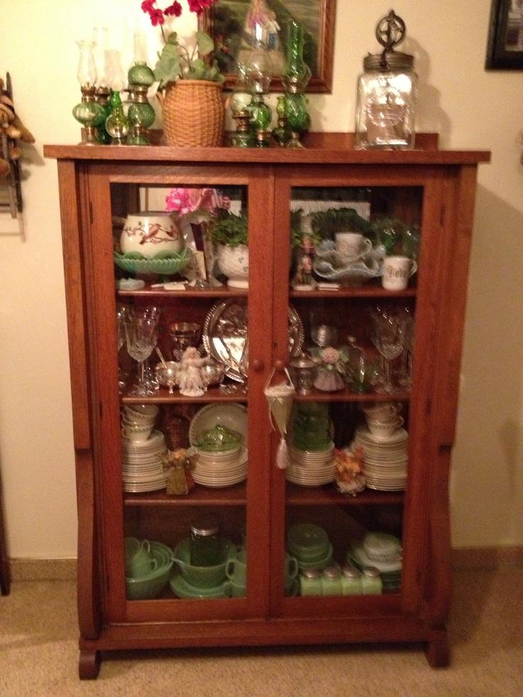 oak china cabinet decor pinterest