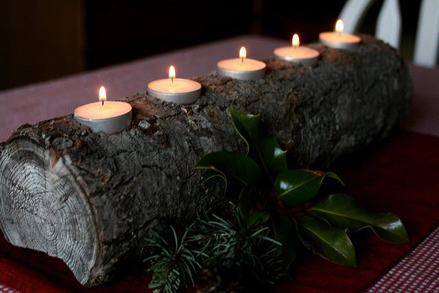 Yule Log Candle Holder - on fireplace   Xmas ideas   Pinterest