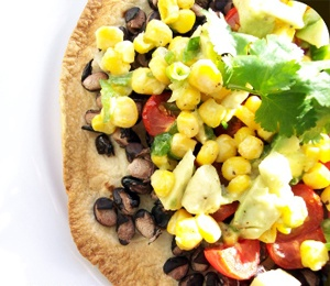 Vegan Black Bean Tostadas with Corn Relish