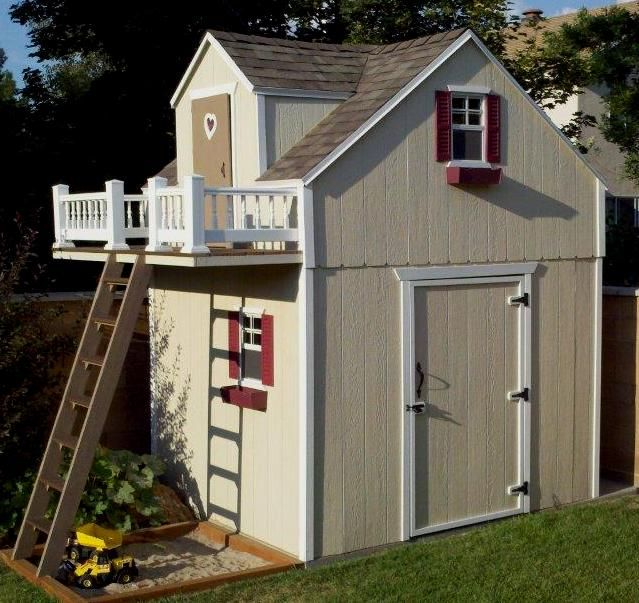 Genius play house over backyard shed trinity pinterest for Shed playhouses