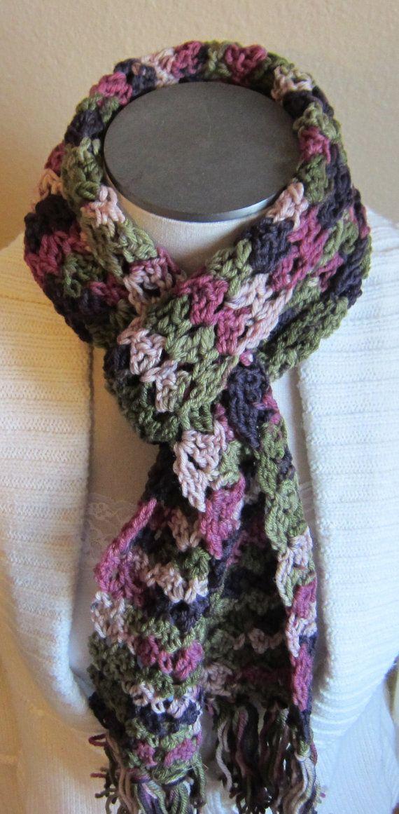 Crochet Multiple Colors : Crochet Scarf Multi Color by Kitkateden on Etsy, $18.00