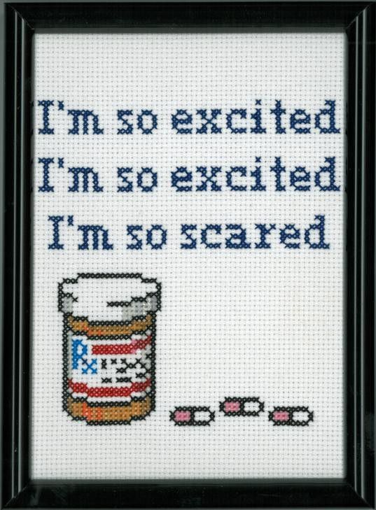 Jesse Spano - I'm so Scared Cross Stitch by DefiantDamsel on Etsy     (for reference: http://www.youtube.com/watch?v=bflYjF90t7c )