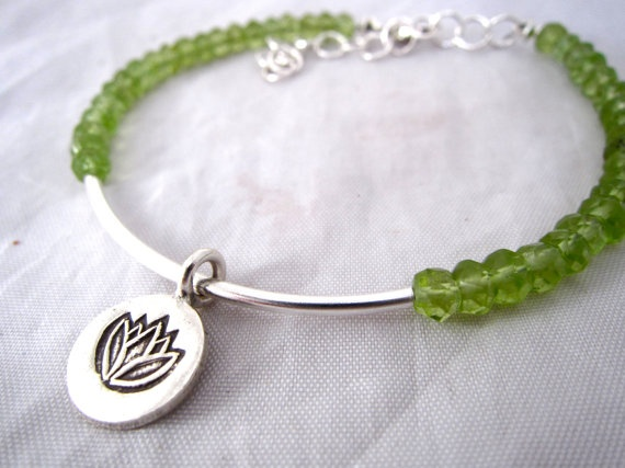 Faceted Peridot Layer Gemstone Bracelet With Hill by CraeVita, $50.00