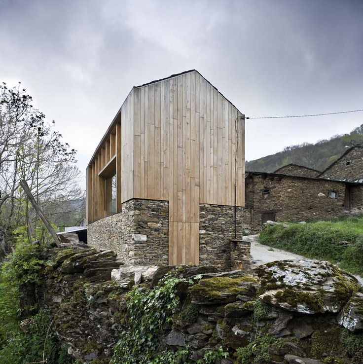 Stone And Wood Modern Cabin Architecture Pinterest