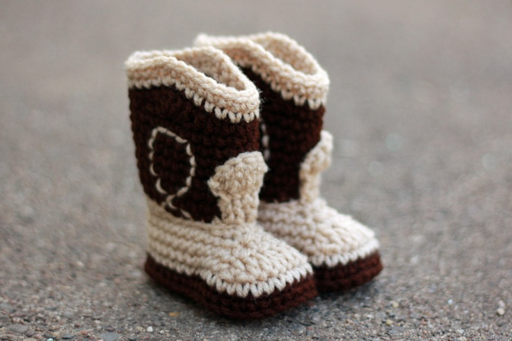 Sweet feet! Cowboy baby booties from Etsy
