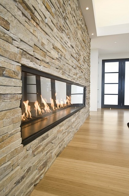 Modern Long Fireplace For The Home Pinterest