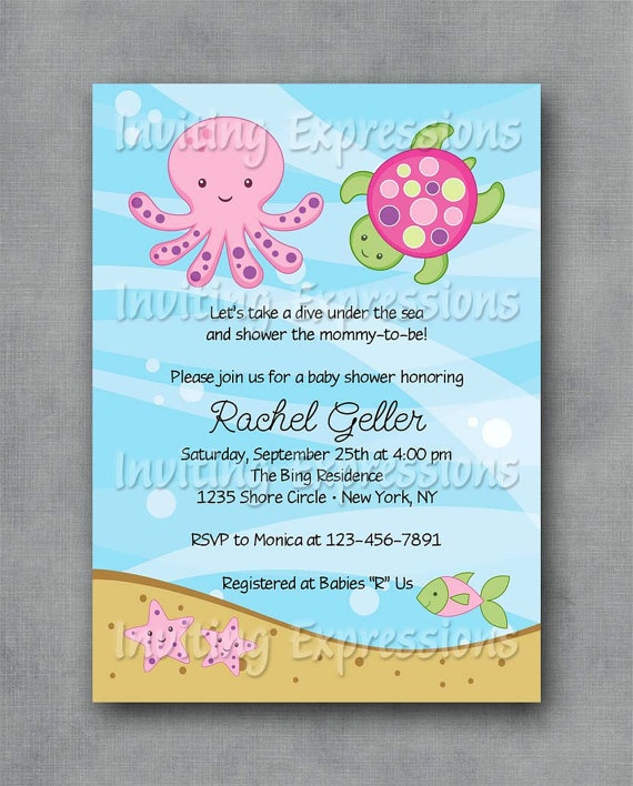 under the sea pink baby shower invitations by invitingexpressions 1