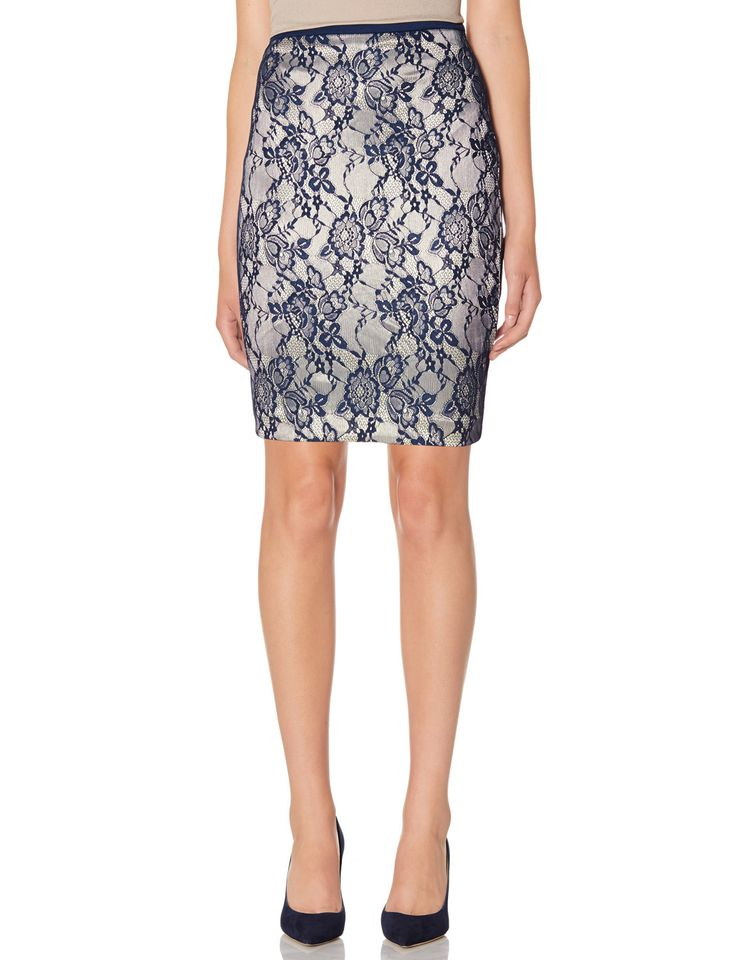 the limited lace overlay pencil skirt navy