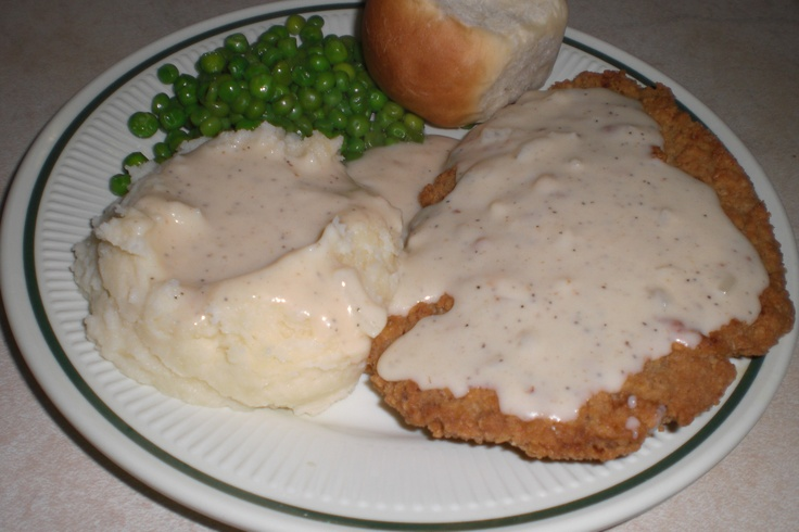 Chicken Fried Steak and mashed potatoes, both with white gravy, sweet ...