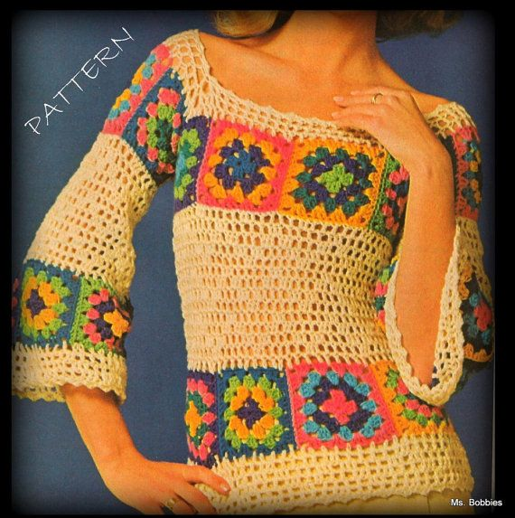 Crochet Patterns For Granny Square Sweaters : Crochet Sweater Features Granny Squares - PDF Pattern ...