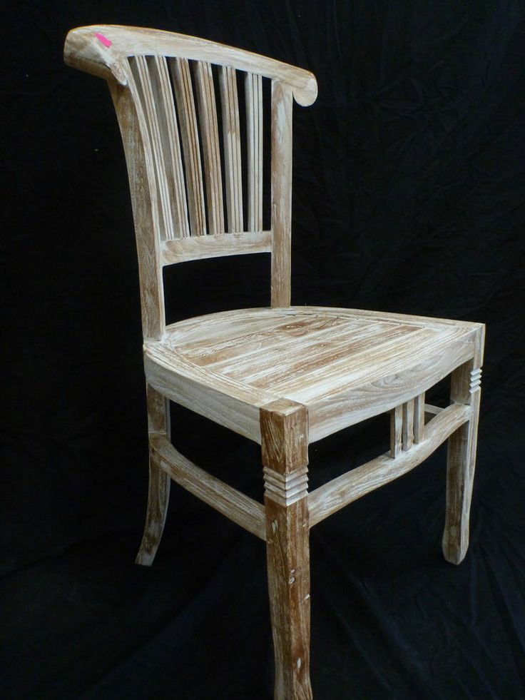 balinese teak timber dining room bedroom restaurant chair seat white